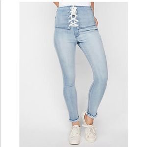 SUPER HIGH WAISTED LACE-UP FRONT JEAN LEGGING